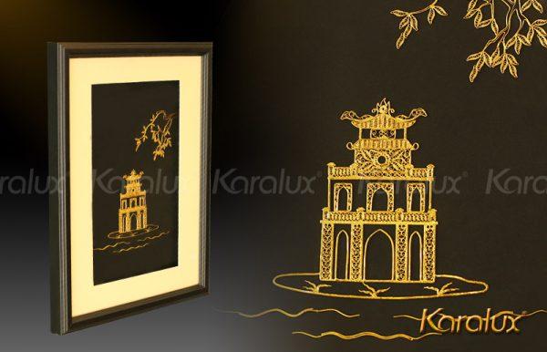 Bức tranh Tháp Rùa Hà Nội mạ vàng 1