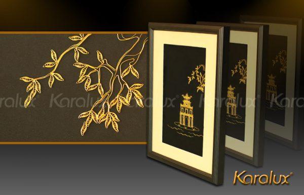 Bức tranh Tháp Rùa Hà Nội mạ vàng 2