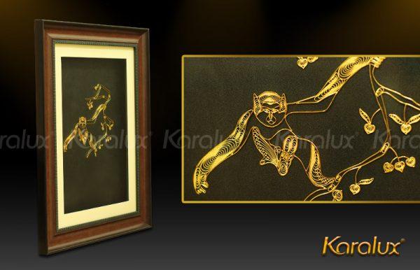 Tranh Khỉ leo cây mạ vàng 1