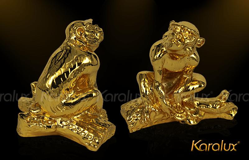 Tượng khỉ phong thủy mạ vàng 24K phú quý