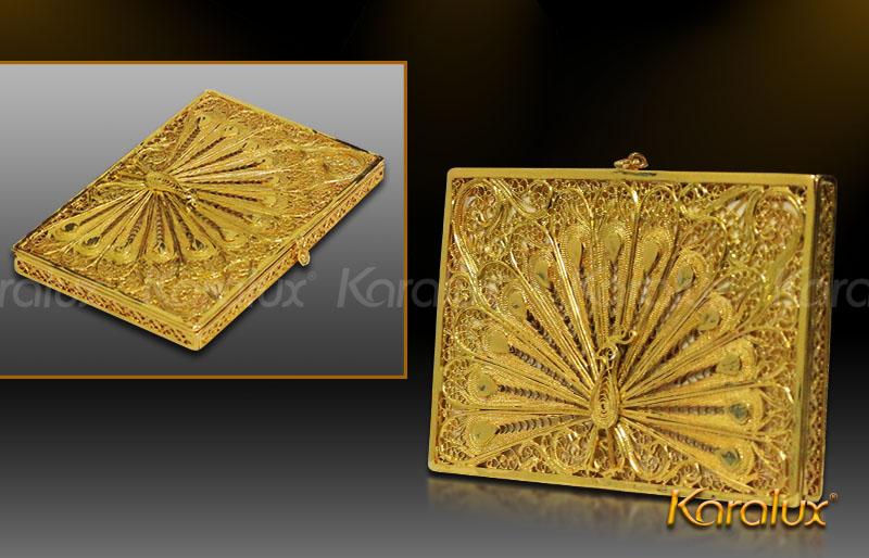 Giá bán hộp đựng name card hình chim công mạ vàng 24K