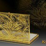 Hộp đựng danh thiếp kết hình hoa sen mạ vàng 4