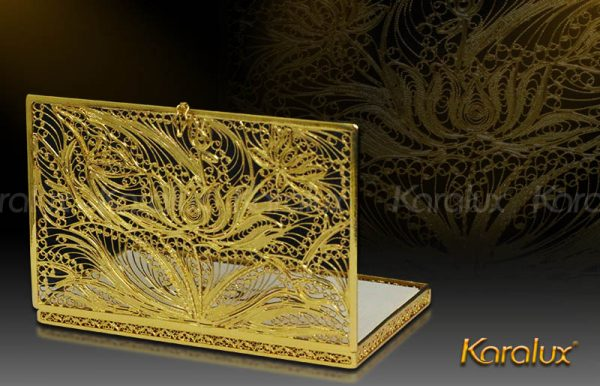 Hộp đựng danh thiếp kết hình hoa sen mạ vàng 2