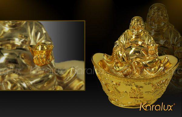 Tượng Phật Di lặc ngồi trên hũ tiền mạ vàng 1