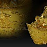 Tượng Phật Di lặc ngồi trên hũ tiền mạ vàng 3