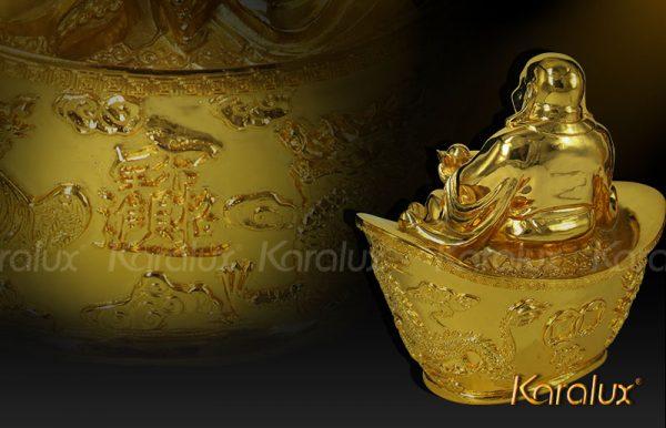 Tượng Phật Di lặc ngồi trên hũ tiền mạ vàng 2