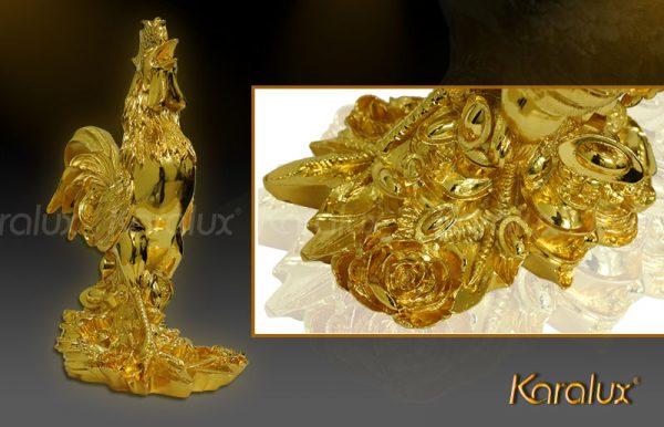 Hình ảnh gà trống tài lộc mạ vàng 24K tại Hà Nội, Tp HCM
