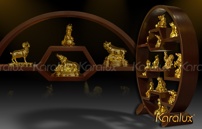 12 con giáp mạ vàng 24k