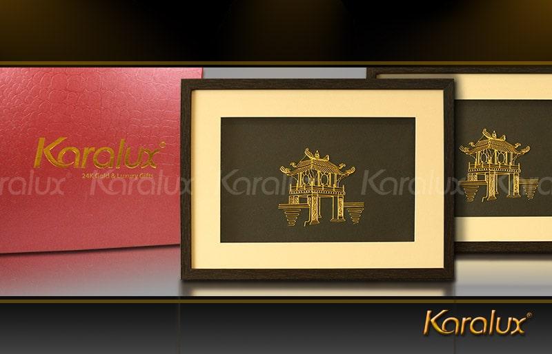 Quà tặng văn phòng Tranh Khuê Văn Các mạ vàng 24K