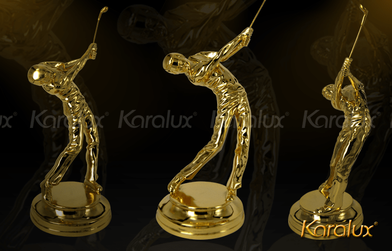 Tượng người đánh Golf bằng đồng mạ vàng 24k|Giải thưởng cup Golf