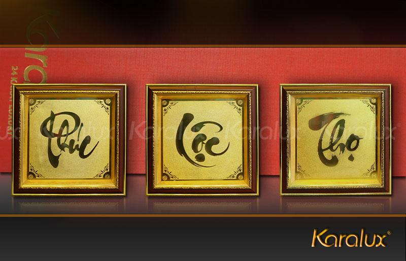 Tranh mạ vàng chữ Phúc, Lộc, Thọ dùng là quà mừng thọ