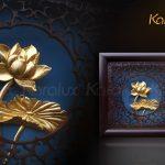 Bức tranh hoa sen để bàn mạ vàng 24K 4