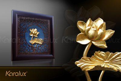 Tranh hoa sen vuông treo tường mạ vàng 25