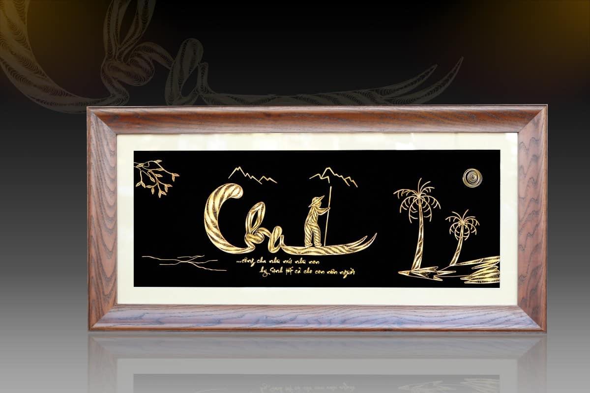 Tranh chữ cha mạ vàng chế tác thủ công tinh xảo từ bạc, mạ vàng 24k là món quà mừng thọ ý nghĩa, độc đáo