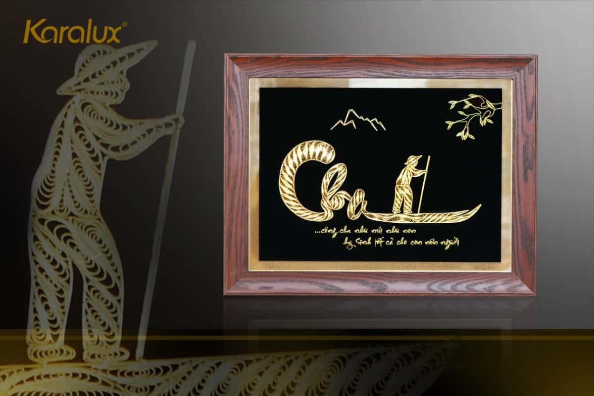 Tranh chữ Cha mạ vàng Karalux- Quà mừng thọ độc đáo, sang trọng 6