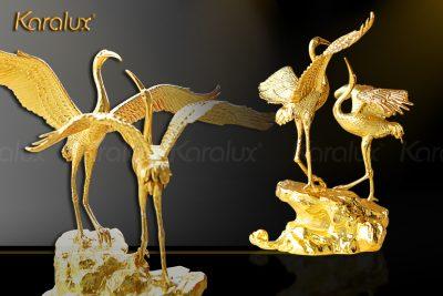 Tranh đôi chim hạc mạ vàng 13