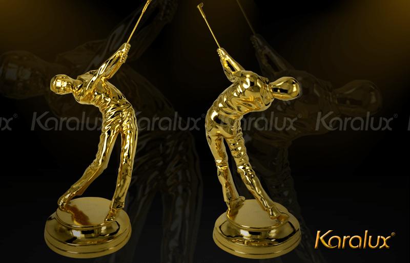Nếu sếp chơi Golf thì bạn có thể tặng sếp biểu tượng người chơi Golf mạ vàng mang thương hiệu Karalux