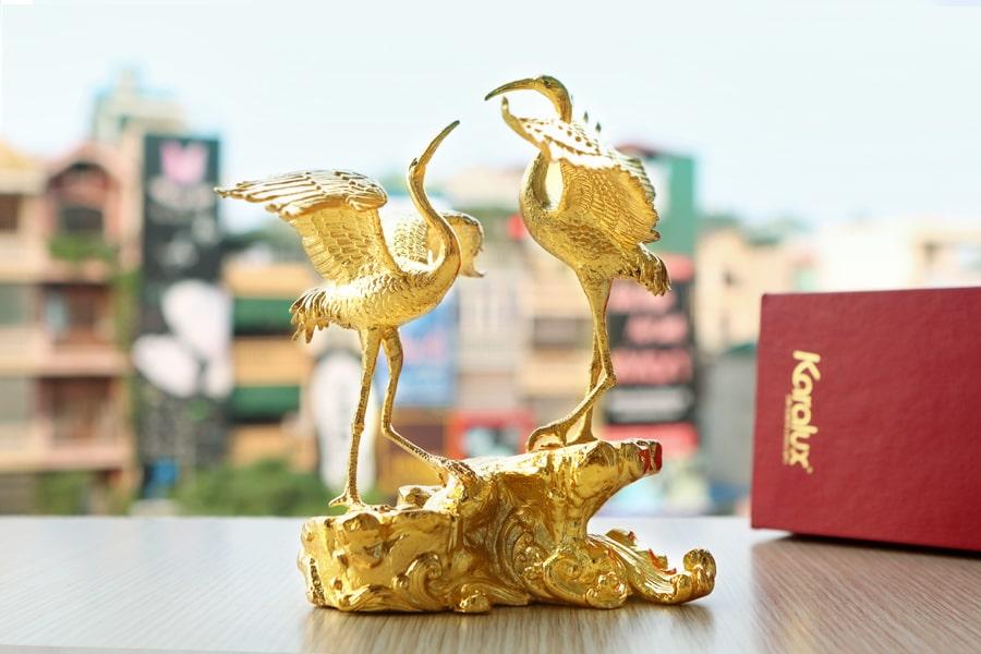 Đôi Hạc mạ vàng do Karalux chế tác