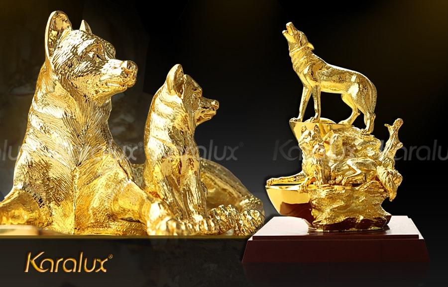 Tượng Khuyển Gia Quần Tụ mạ vàng – TLV-TUAT5-C29