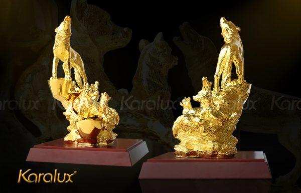 Tượng Linh khuyển Đoàn Viên mạ vàng 3