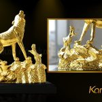Tượng Linh Khuyển Uy Phong mạ vàng 4