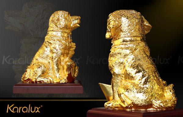 Tượng chó Gia Khuyển An Khang mạ vàng 2