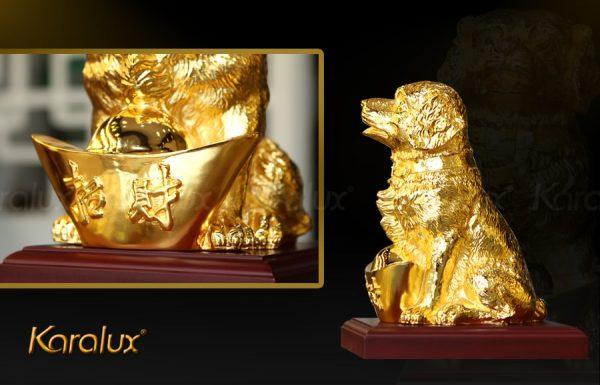 Tượng chó Gia Khuyển An Khang mạ vàng 1