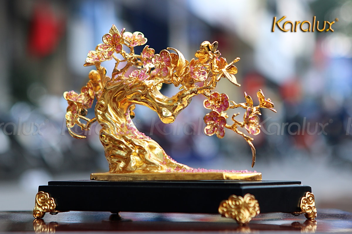 Hoa đào mạ vàng gắn Ruby – MHK-0013
