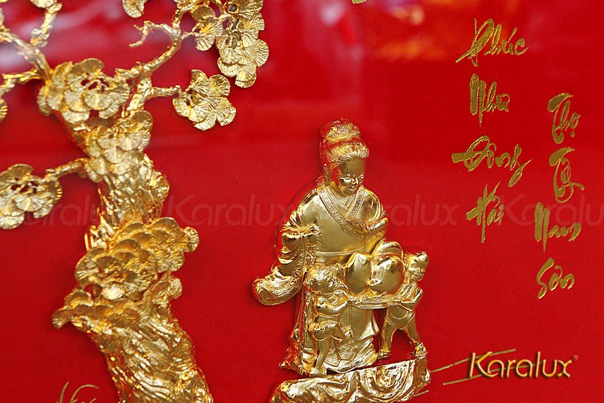 Tranh phù điêu mừng thọ mạ vàng – TRD-0005-5065