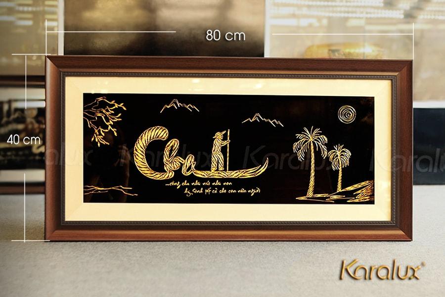 Tranh chữ thư pháp Cha mạ vàng – TRC-0004-4080