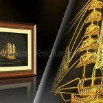 Tranh thuyền buồm phong thủy bằng bạc mạ vàng 5