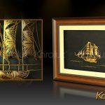 Tranh thuyền buồm phong thủy bằng bạc mạ vàng 3