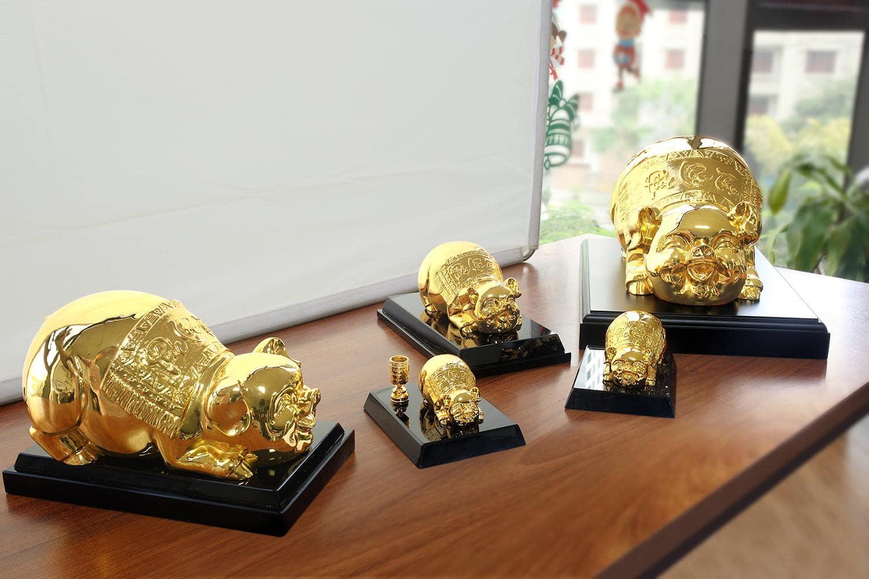 Các mẫu tượng heo vàng Phúc Lộc Thọ với nhiều kích thước khác nhau phù hợp mọi không gian bài trí