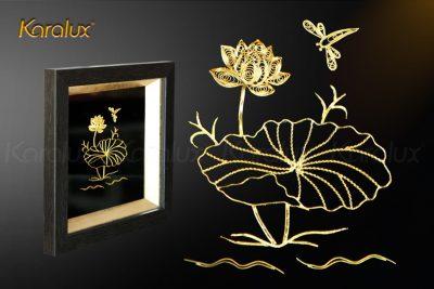 Tranh hoa sen để bàn mạ vàng 24k 24