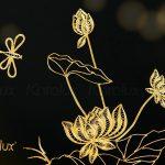 Tranh hoa sen treo tường mạ vàng 24K 4