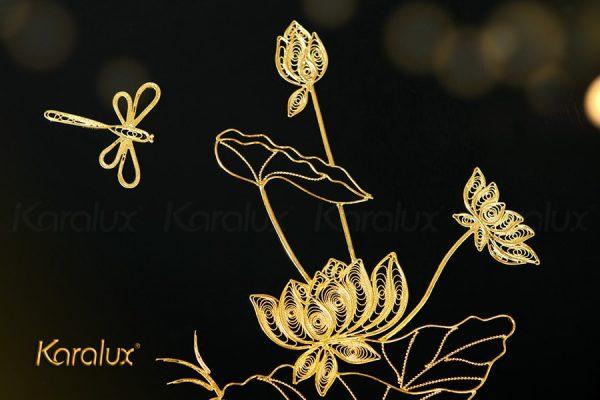 Tranh hoa sen treo tường mạ vàng 24K 2