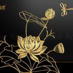 Tranh hoa sen vuông treo tường mạ vàng 4