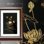 Tranh hoa sen treo tường mạ vàng 24K 6