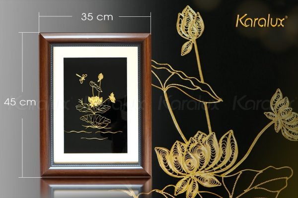 Tranh hoa sen treo tường mạ vàng 24K 3