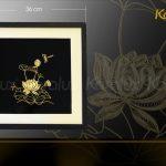Tranh hoa sen vuông treo tường mạ vàng 6