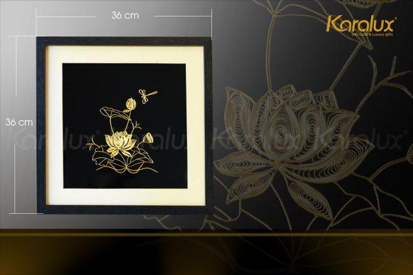 Tranh hoa sen vuông treo tường mạ vàng 3
