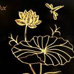 Tranh hoa sen để bàn mạ vàng 24k 5