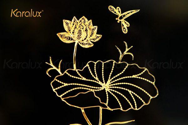 Tranh hoa sen để bàn mạ vàng 24k 2