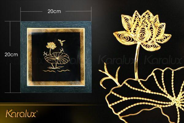 Tranh hoa sen để bàn mạ vàng 24k 3