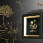 Tranh hoa sen để bàn mạ vàng 24k 9