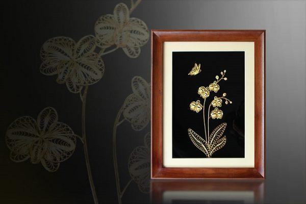 Tranh hoa phong lan mạ vàng 1