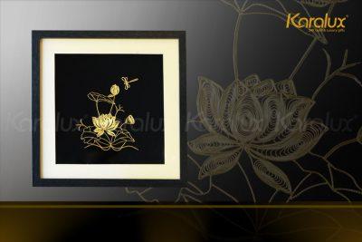 Tranh hoa sen để bàn mạ vàng 24k 26