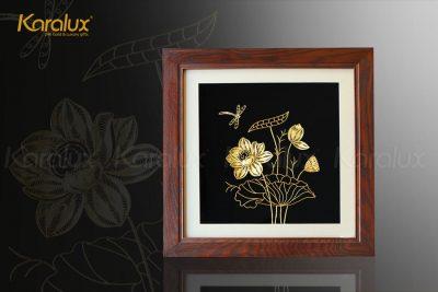 Tranh hoa sen để bàn mạ vàng 24k 20