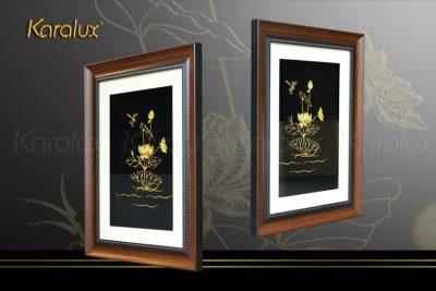 Tranh hoa sen vuông treo tường mạ vàng 19