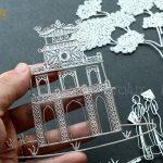 Các chi tiết trên tranh đều được chế tác tinh xảo từ các sợi bạc ta bởi nghệ nhân kim hoàn